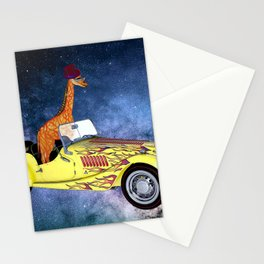Giraffe in Space Stationery Cards