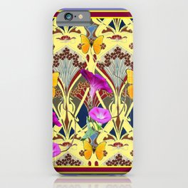 Decorative Cream Color & Fuchsia Morning Glories Floral Yellow Butterflies iPhone Case
