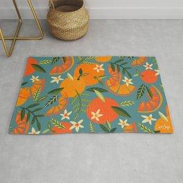 Orange Blooms – Blue Palette Rug
