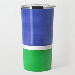 Mid Century Modern Minimalist Colorful Pop Art Rothko Inspired Color Field Blue Emerald Green Travel Mug