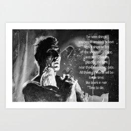 Like tears in rain - black - quote Art Print