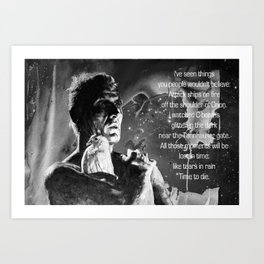 Like tears in rain - black - quote Art Print