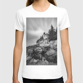 Bass Harbor Lighthouse Black White Print T-shirt