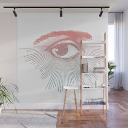 I See You. Pink Turquoise Gradient Sunburst Wall Mural
