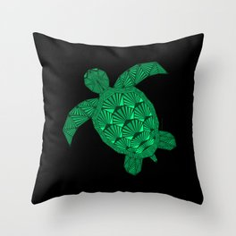 Art Deco Turtle on Black Throw Pillow
