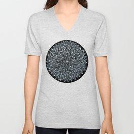 White on black seaweed mandala Unisex V-Neck