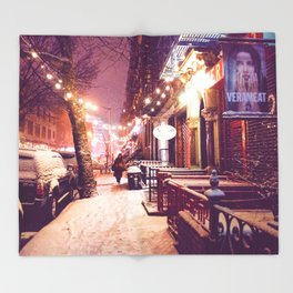 Winter Night with Snow in the East Village New York City Throw Blanket
