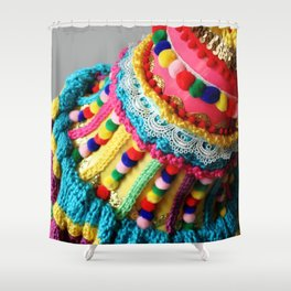 Watering Pompoms (detail) Shower Curtain