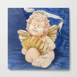 Cherub with Squeeze-box Metal Print