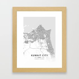 Kuwait City, Kuwait - Light Map Framed Art Print