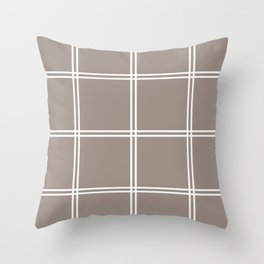 Brown and white checkered pattern Throw Pillow