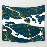 sweden Wall Tapestries featuring Stockholm Sweden Map by Studio Tesouro