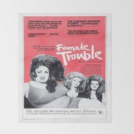 Vintage Female Trouble Movie Poster Throw Blanket