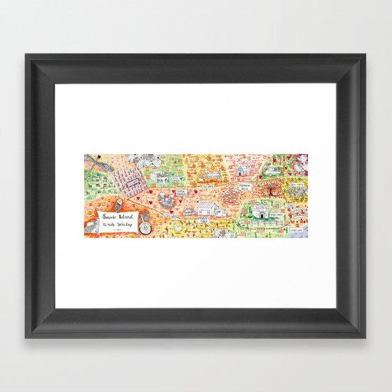 Sauvie Island Bike Loop Map Framed Art Print