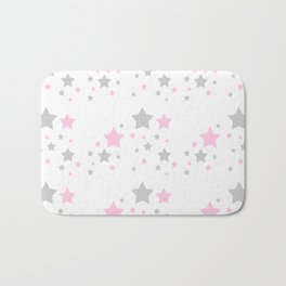 Pink Grey Gray Stars Bath Mat
