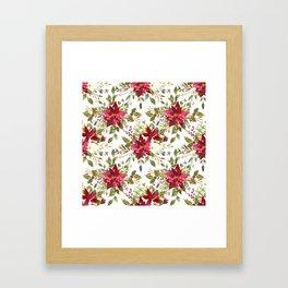 Watercolor pink green hand painted floral berries Framed Art Print