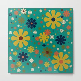 Flowerama - Retro Floral Pattern in Mid Mod Colors on Turquoise Teal Metal Print