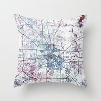 houston Throw Pillows featuring Houston map by MapMapMaps.Watercolors