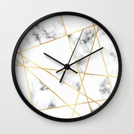 Stone Effects White and Gray Marble with Gold Accents Wall Clock