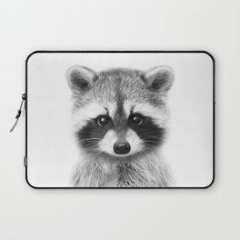 Baby Raccoon Black & White, Baby Animals Art Print by Synplus Laptop Sleeve