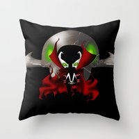 spawn Throw Pillows featuring Chibi Spawn by artwaste