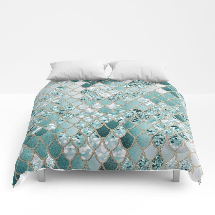 Mermaid Glitter Scales #3 #shiny #decor #art #society6 Comforters