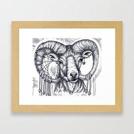 mountain goat- dots Framed Art Print