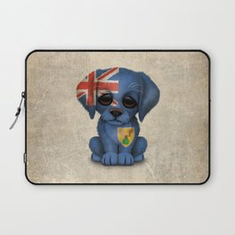 Cute Puppy Dog with flag of Turks and Caicos Laptop Sleeve