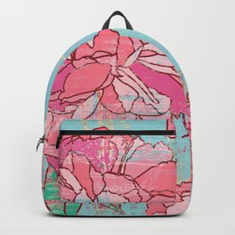 Pink roses, floral print in pastels Backpack