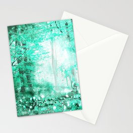 279 3 Turquoise Forest Stationery Cards
