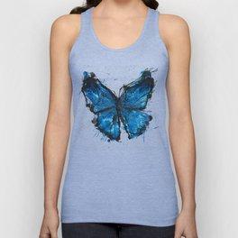 Blue butterfly ink splatter Unisex Tank Top