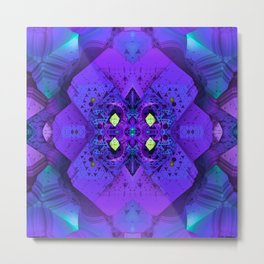 Polygonal Graphic Purple Metal Print