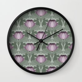 Lavender Flowers Art Nouveau Inspired Floral Pattern Wall Clock