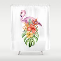 flamingo Shower Curtains featuring Flamingo by Julia Badeeva