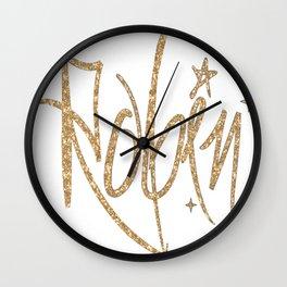 Custom NAME Sparkle FONT Glitter GOLD Wall Clock