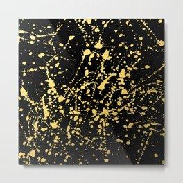Splat Gold on Black Metal Print