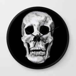 Skull on Black Wall Clock