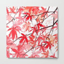 red orange maple leaves watercolor painting 2 Metal Print