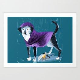 Raincoat puppy an April angel Art Print