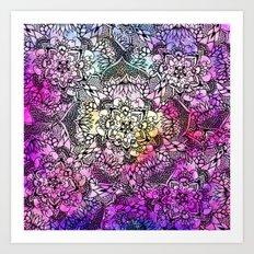 Modern black handdrawn floral mandala nebula paint Art Print