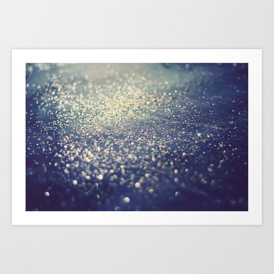 Glitter on Blue Art Print