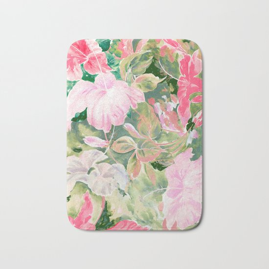 hibiscus tropical watercolor Bath Mat