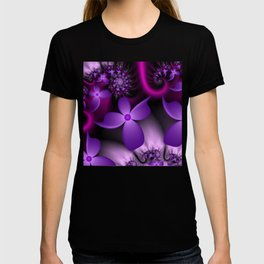 Purple Fantasy Flowers Fractal T-shirt