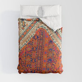 Orange Wildflower Sunshine III // 18th Century Colorful Rusty Red Bright Blue Metallic Happy Pattern Comforters