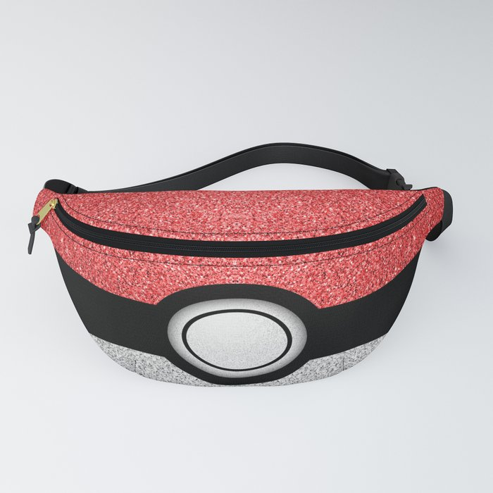 Sparkly red and silver sparkles poke ball Fanny Pack
