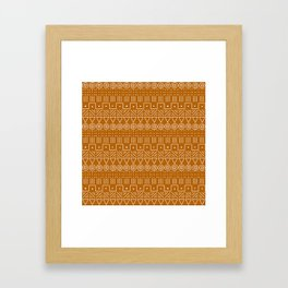 Mudcloth Style 1 in Orange Framed Art Print