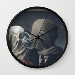 Kissing Death-The Lovers-Magritte Wall Clock