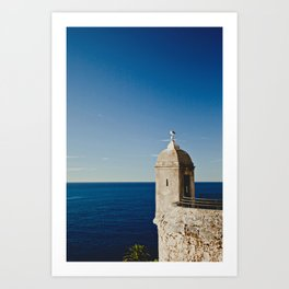 Seagull sitting on an old stone tower, Monaco, Cote d'Azur Art Print