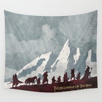 tolkien Wall Tapestries featuring The fellowship of the ring by WatercolorGirlArt