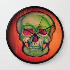 Watercolor skull/Green Wall Clock